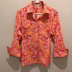 Izod Red, Orange Floral Blouse with spandex. Large